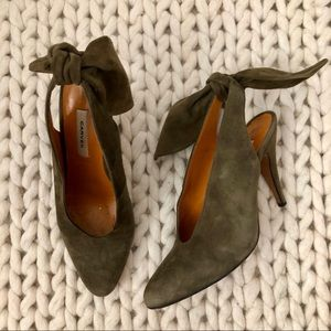 Carven Olive Green Suede Slingback With Bow